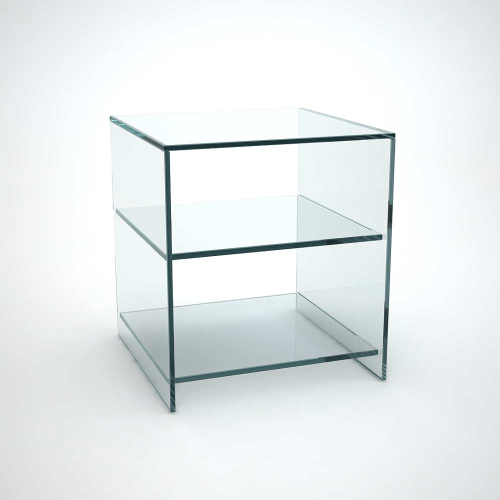 Judd glass side table with shelves klarity glass furniture for Glass furniture