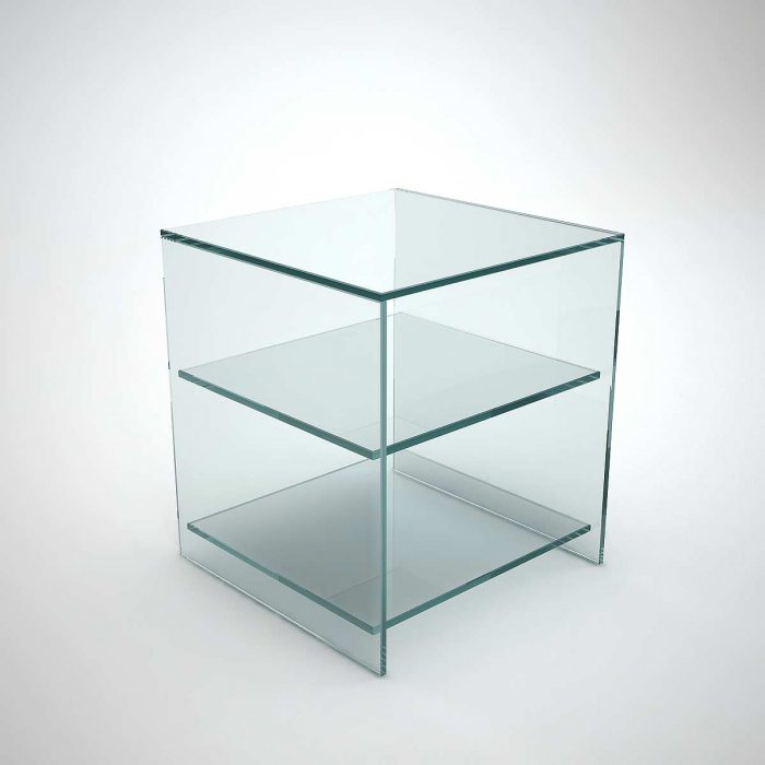glass table for side of sofas or beds