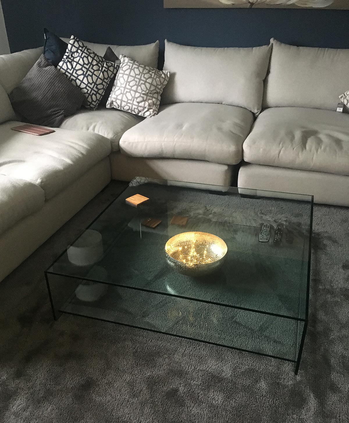 judd large square glass coffee table