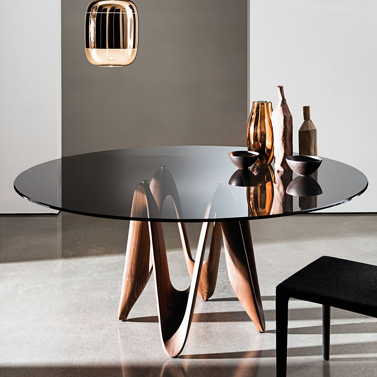 Lambda Table Round Glass Top With Central Base By Sovet Italia