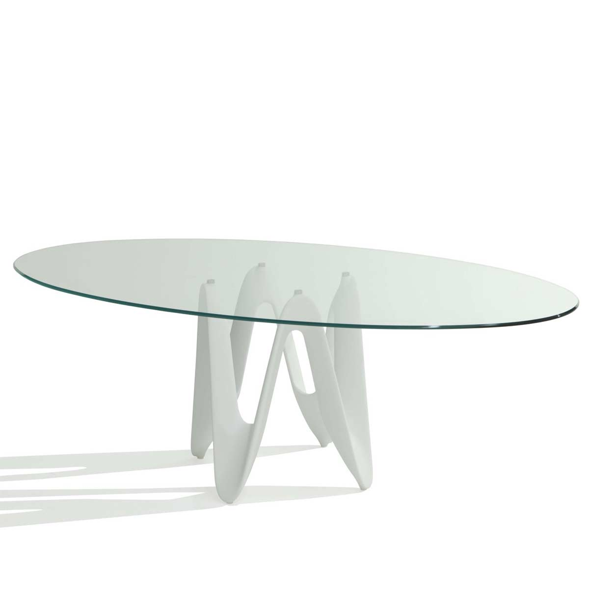 Lambda oval glass dining table klarity glass furniture for Glass furniture