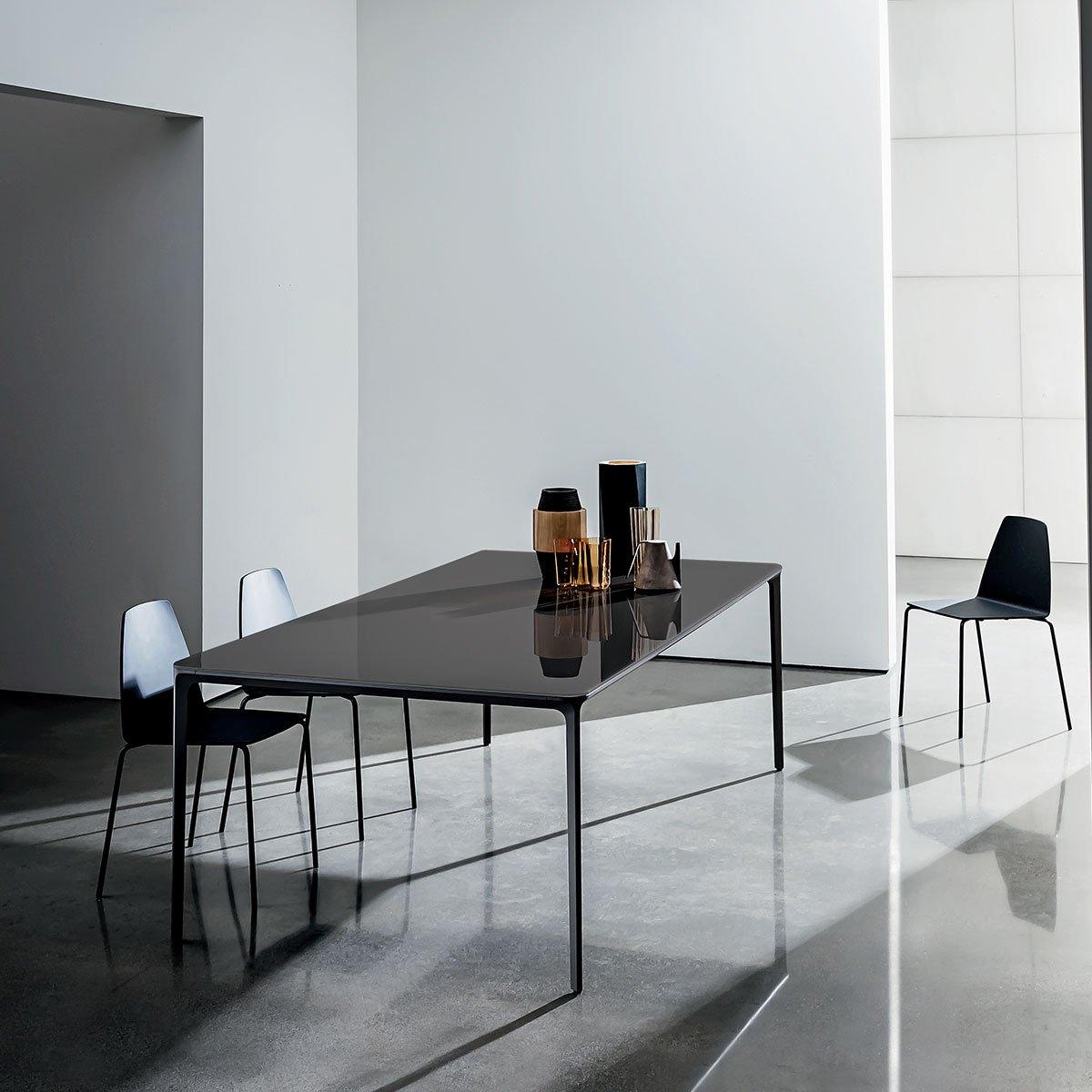Slim Rectangular Glass Dining Table Klarity Glass Furniture