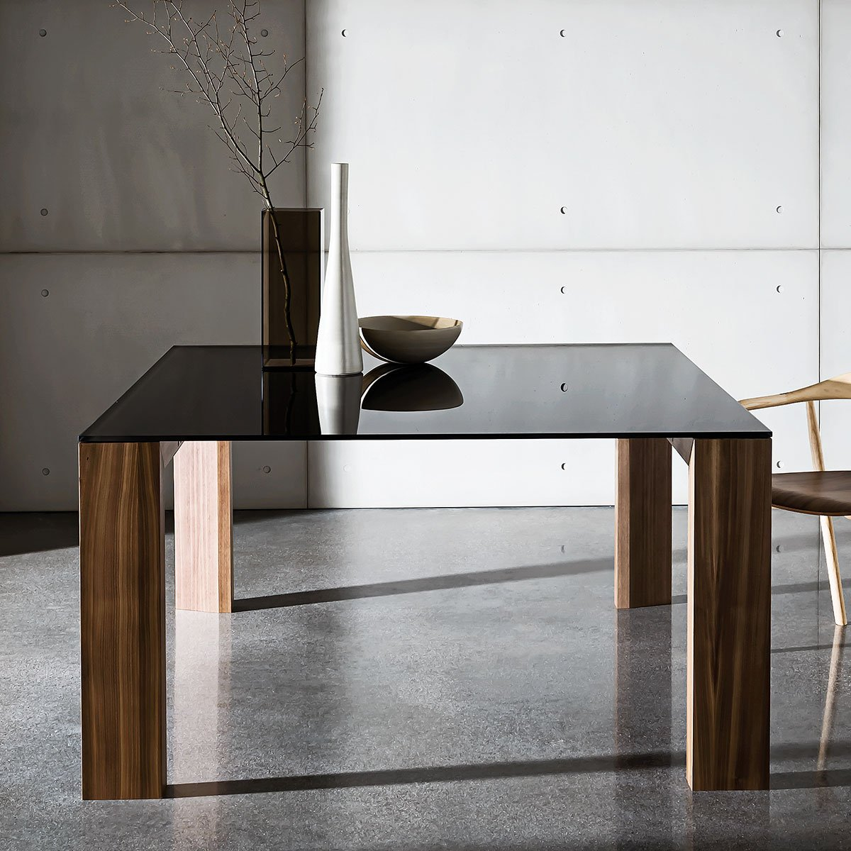 Toronto Wood and Glass Top Table - Klarity - Glass Furniture