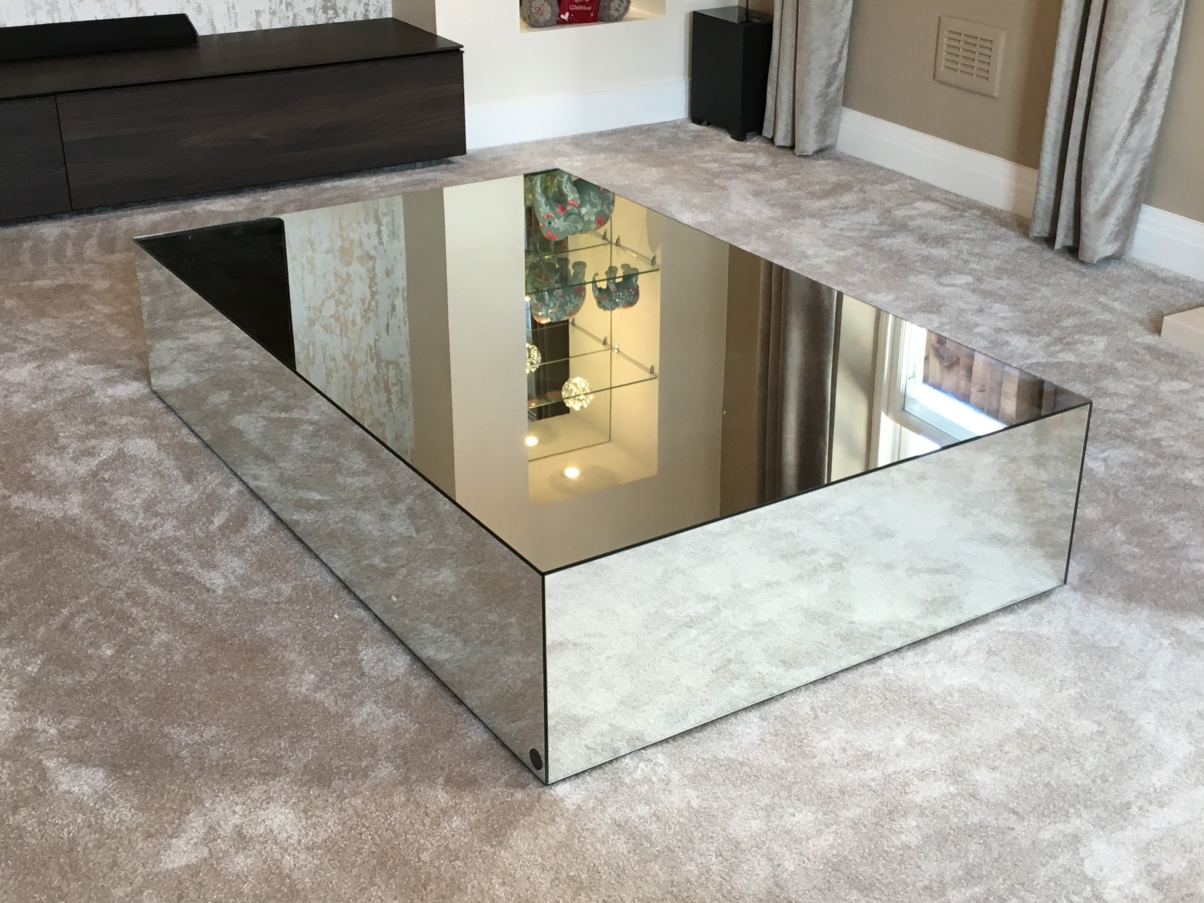in mirrored mirror bedroom drawer table idea side nightstand your cheap furniture home with top silver