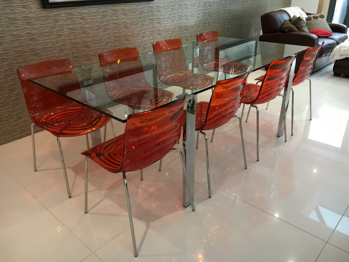 Tonelli Glass and metal dining table