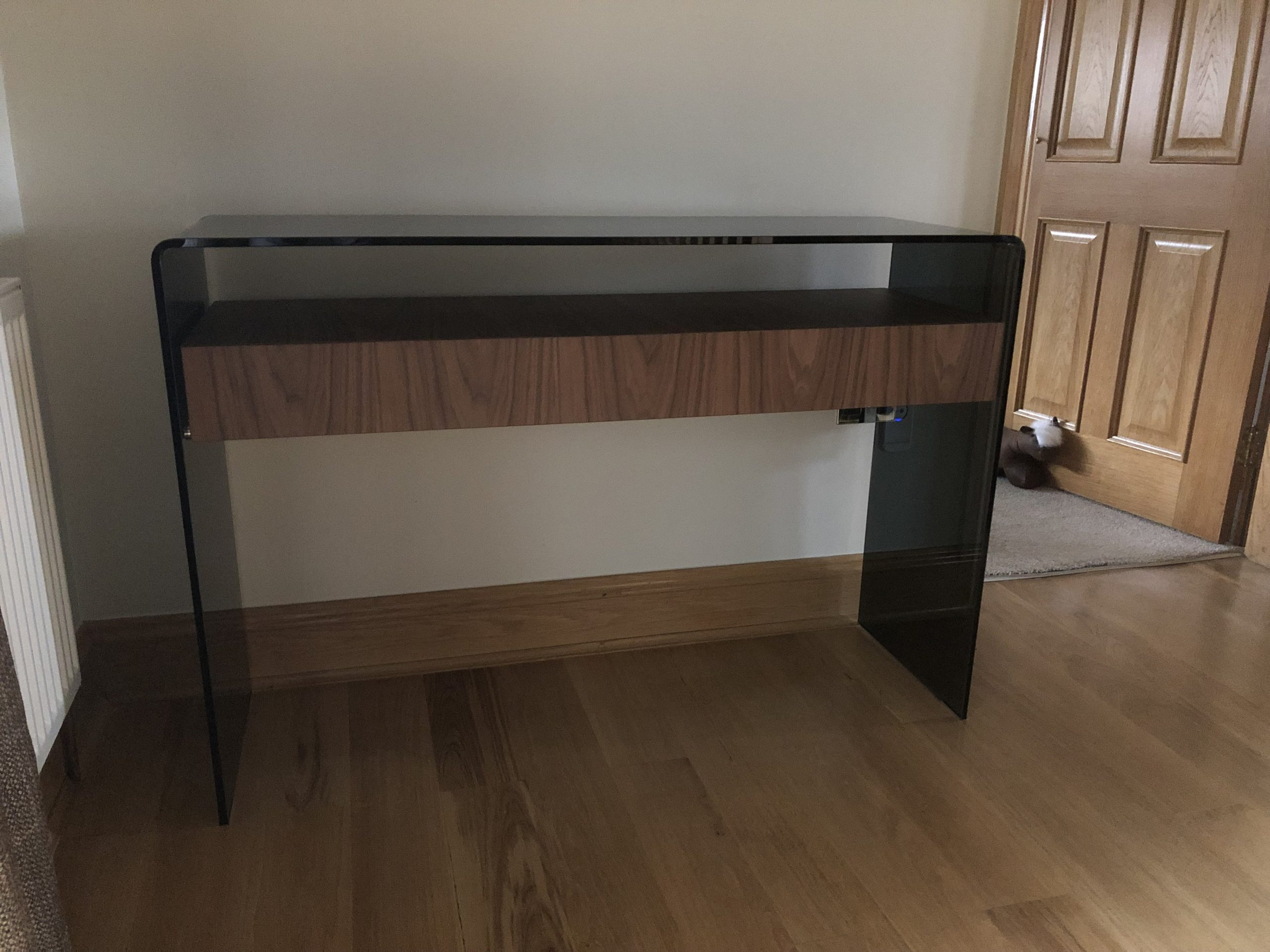Smoked Glass Console Table with Walnut Drawer