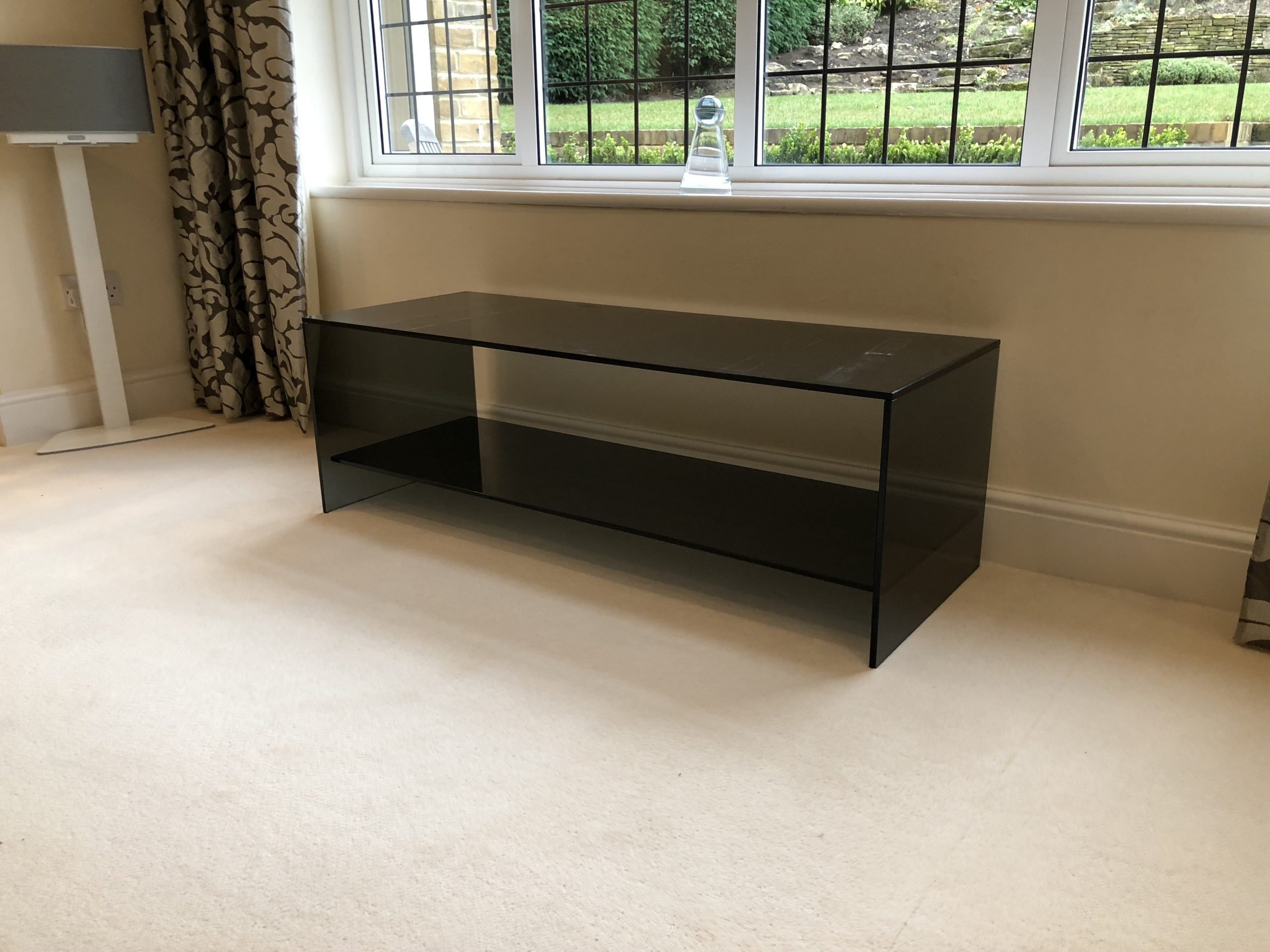 Smoked Glass Coffee Table with Shelf