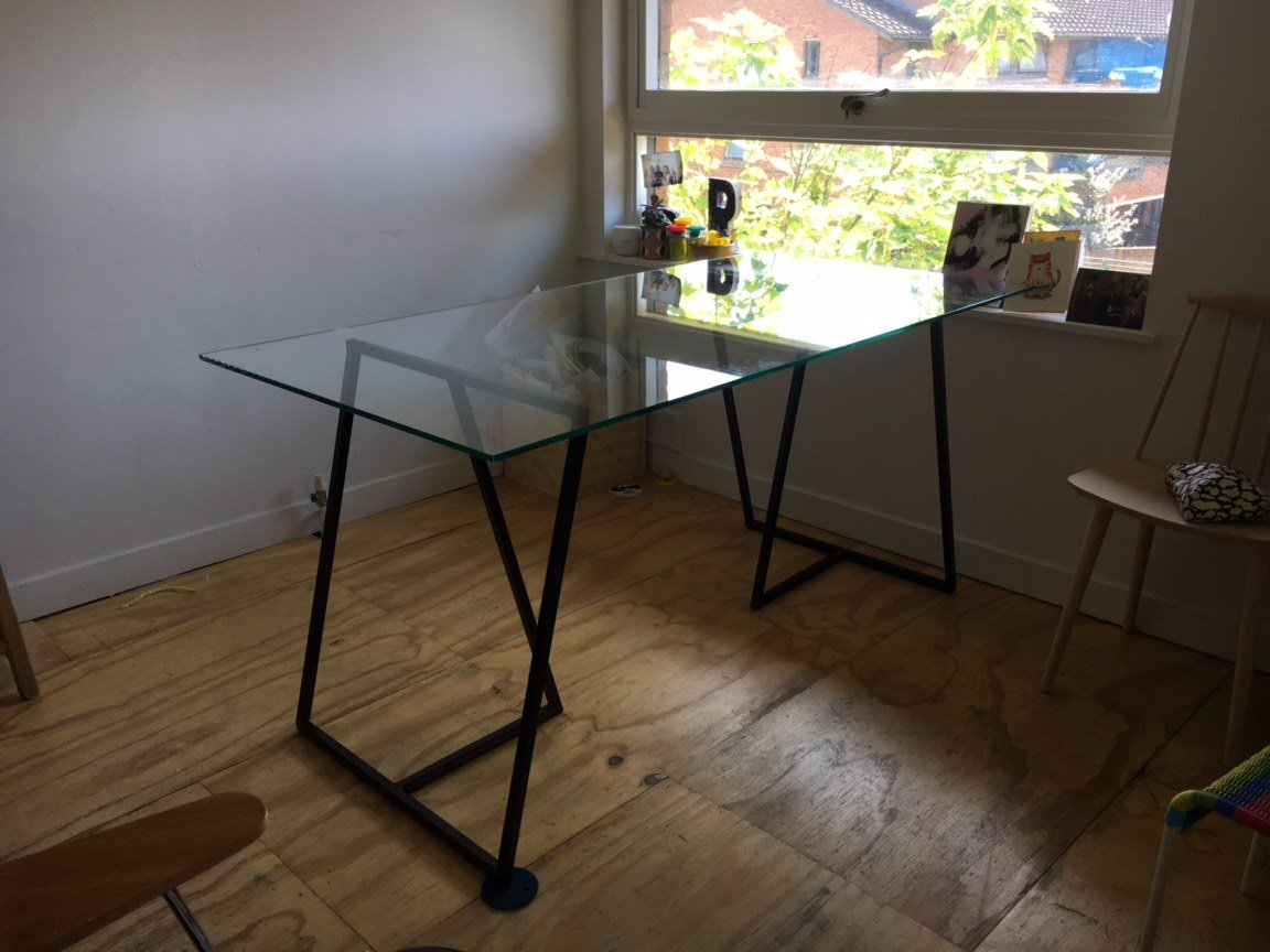 Trestle Table with glass top