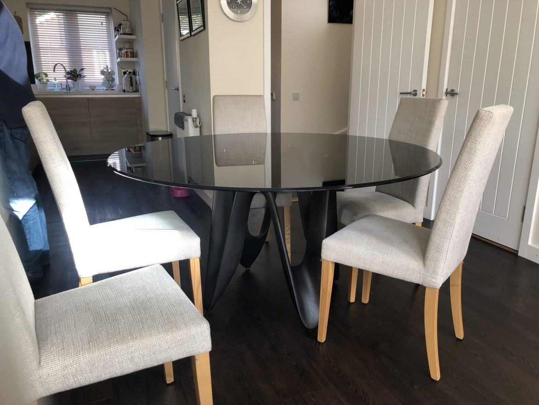 Lambda black Glass top Table