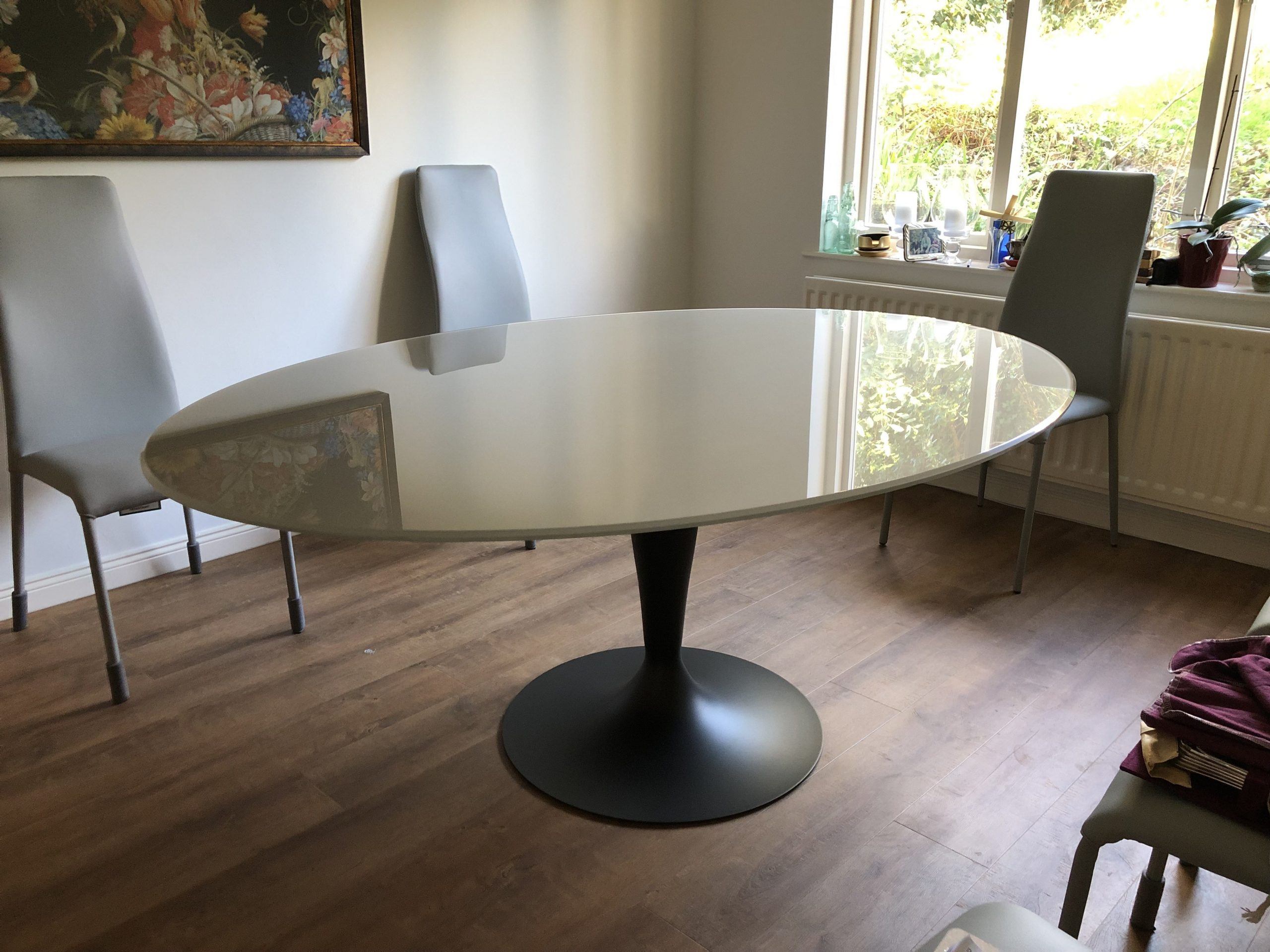Flute Oval Glass top dining table