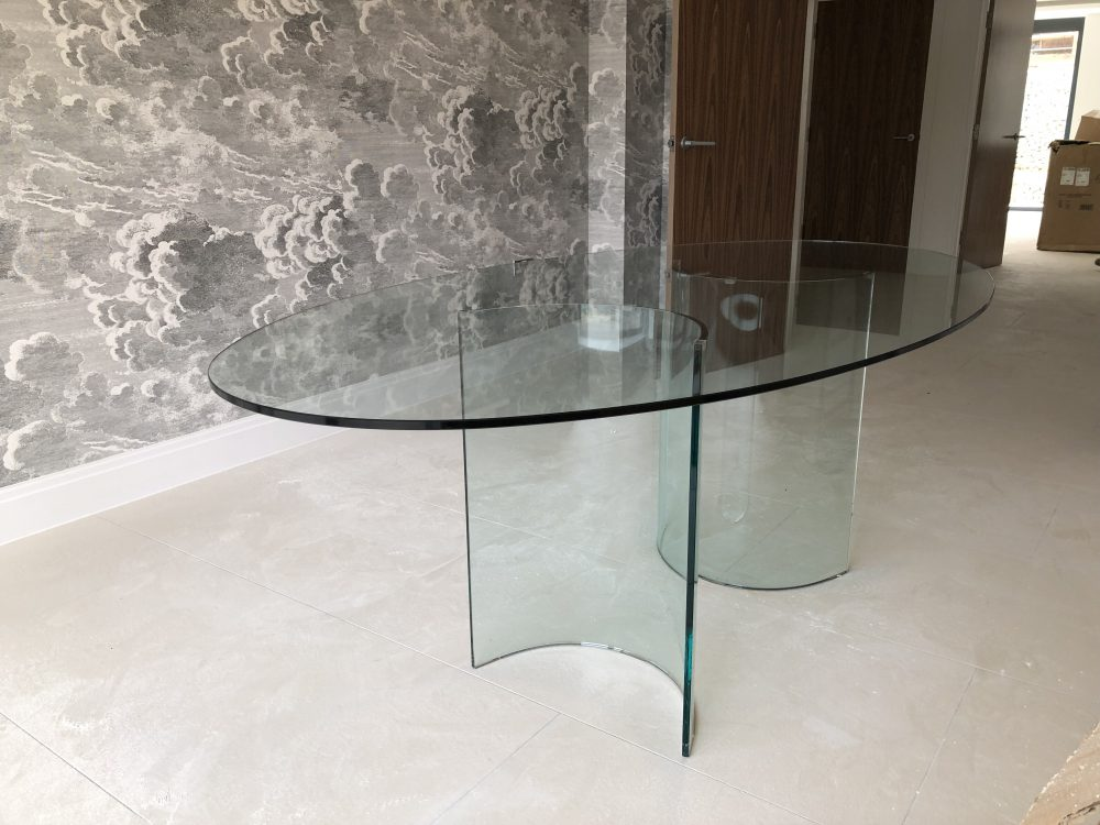 Glass Dining Table - oval shape