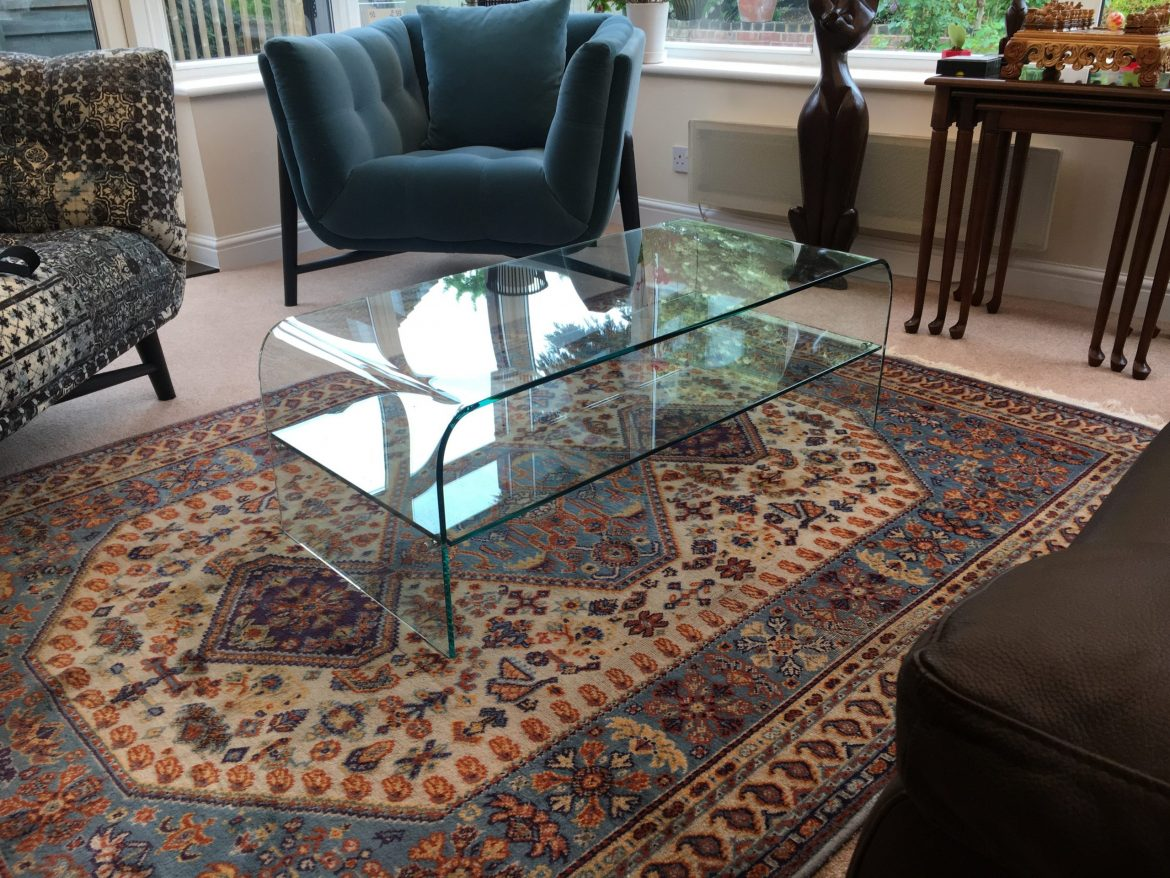 Curved Glass Table with Shelf
