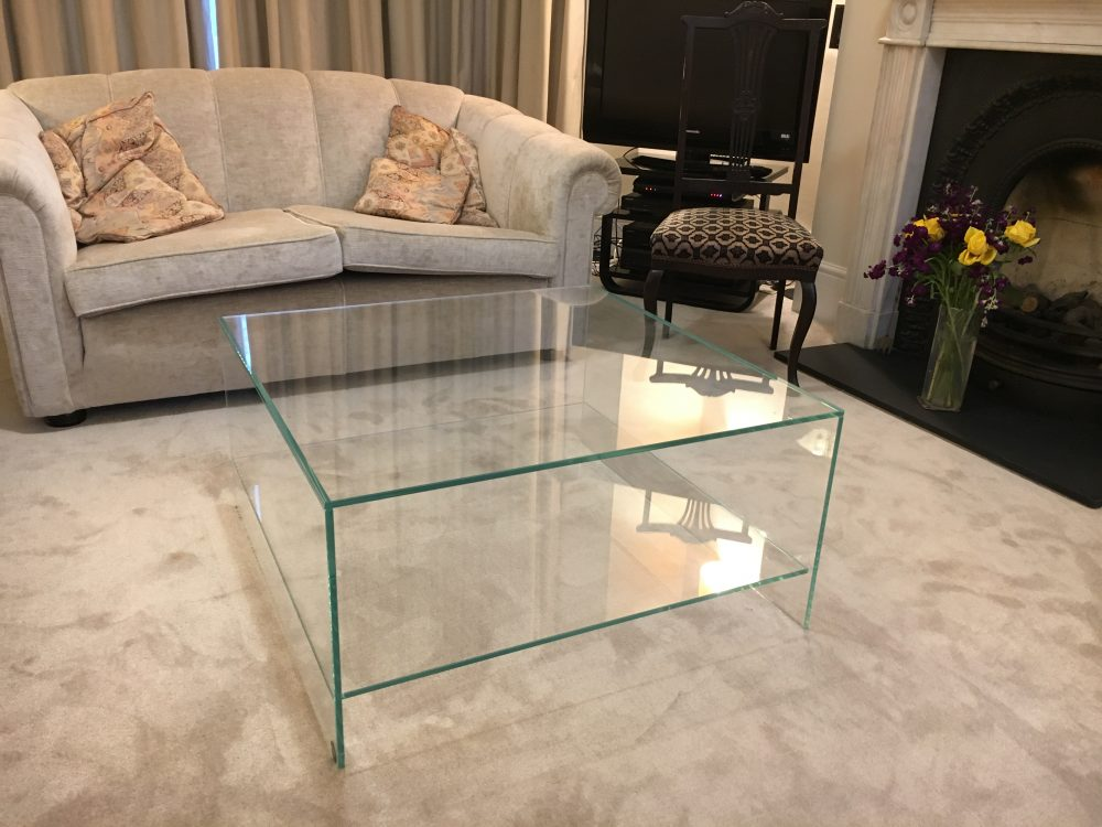 Coffee Table with Glass Shelf