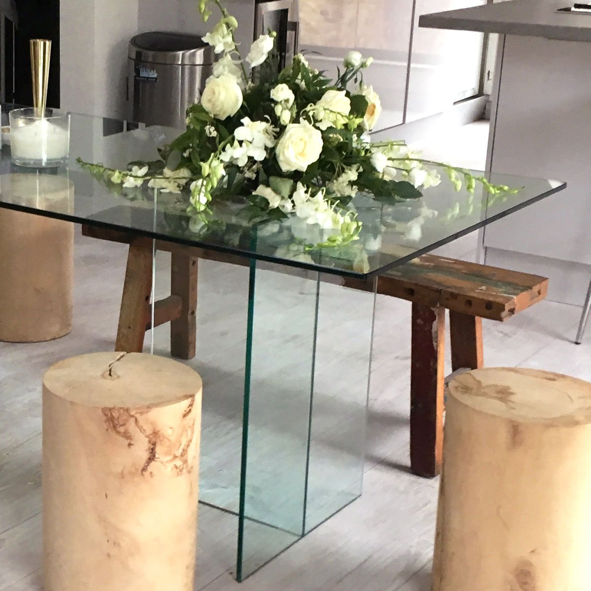 Glass Dining table Classic T Shape