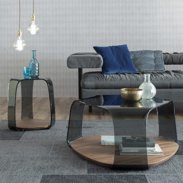tonin-casa chakra smoked glass walnut coffee table