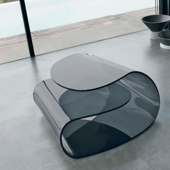 volup smoked glass coffee table